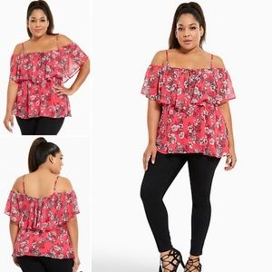 Torrid floral chiffon cold shoulder top 0 0x